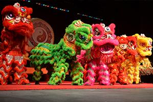 dragon dancing and lion dancing
